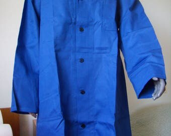 VTG 60s french blouse work shirt in indigo blue, new old stock, size EU 54/56 / XL