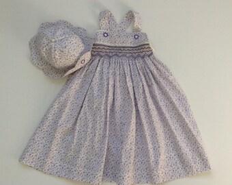Girls smocked sundress, toddler hat, girls floral smocked dress, toddlers hat and dress, baby smocked dress, baby girl  Summerwear, babywear