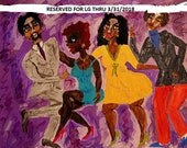 "RESERVED for LG = Painting, ""Just Like This!"", Black Art, cultural art, by African American Artist Stacey Torres - ""The Twist!"""