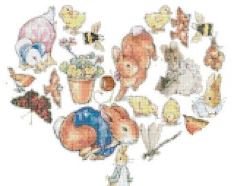 "beatrix potter into heart counted cross Stitch pattern chart ristipisto kuvio, beatrixpotter pattern - 10.79"" x 9.43""  - L1538"