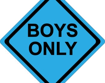 Boys Only - Kids Room or Parties - Wall Decoration - Yellow or Blue - Made in the USA