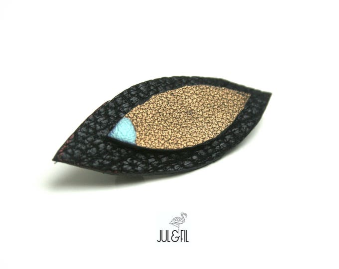 Brooch navettes black leather / bronze, lacquer point lying