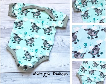 Baby Bodysuit - 3-6 months Bodysuit - Donkey Baby Bodysuit - Organic Baby Bodysuit - Baby Boy Bodysuit - Baby Girl Bodysuit - Blue Bodysuit