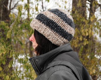 Striped knit hat, gray striped hat, brown striped hat, Hand knit hat, beanie, women's winter hat, gift for her, Christmas gift