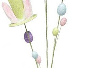 "32"" Glitter Rabbit Ears Top Hat Egg Spray-Set of 2/Wreath Supplies/Easter Decoration/ HE4108"