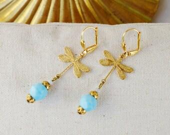 Art nouveau earrings Golden dragonflies and blue beads