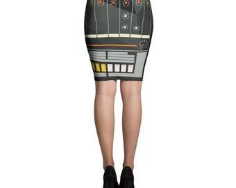 TR-808 Drum Machine Rhythm Composer female DJ fashion Pencil Skirt