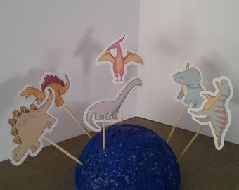 DINOSAUR  Cake Toppers...Dinosaur Cupcake Toppers... Set of 12... Choice of one side or two sided pick
