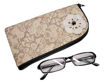Handmade beige sunglasses case, glasses case, eyeglasses case, reading glasses case, crochet hook case