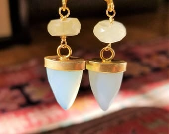 Beautiful Pale Blue-Green Chalcedony Faceted Arrowhead Earrings with Faceted Phrenite Rondelles, Gold Bezel Chalcedony and Phrenite Earrings