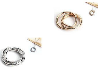5 sets of 3 intertwined rings 21mm 2 colors to choose gold or silver
