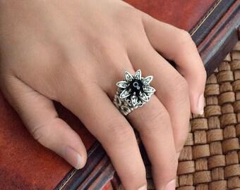 Wild Flower Daisy Ring, Flower Ring, Daisy Ring, Vintage Flower Ring, Hippie Flower Ring, Silver Flower Ring, Antique Flower Ring R553