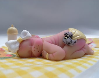 "Polymer Clay Babies ""It's a Girl"" Newborn, SIZE 2.5"" Gift, Keepsake, Collectible, Cake Topper, Home Shelf Display Decor, Memorial"