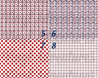 """4th of July Pattern Vinyl, Patriotic, Patterned, Red White Blue, Paisley, Polka Dot, Star, Flag, Quatrefoil, 1-12""""x12"""", Adhesive, Oracal 651"""
