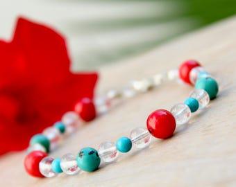 Beaded bracelet, Turquoise bracelet, Coral bracelet, Crystal bracelet, Sterling silver bracelet, Gemstone bracelet, Natural stone bracelet