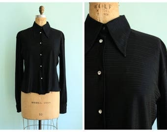 Vintage 1970's Black Blouse with Rhinestone Buttons | Size Medium