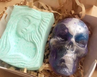 Halloween gift set, skull soap, mermaid bath bomb, mint bath bomb, space skull soap, girl bath bomb, rum soap, cosmos soap, glitter soap set