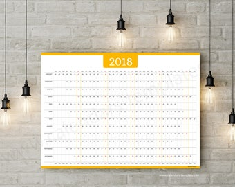 Year Planner 2018 Wall Horizonta Yearly Printable Planner Agenda Calendar Template - KP-W6