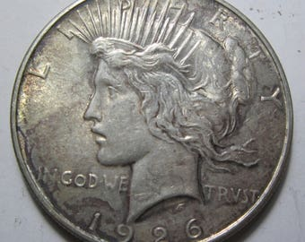 1926 D silver Peace dollar grades AU (#E108L)