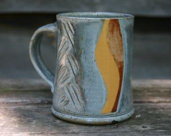 Gray Mug with Mountains and Moon