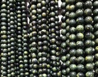 Green Serpentine Beads,(4-12mm) Natural Gemstone Beads, Smooth Round Beads, Semi Precious Stone Beads, E368