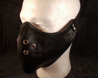FREE SHIPPING! Natural black leather motorcycle mask