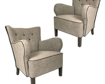 Pair of Danish 1940s Linen Upholstered Armchairs