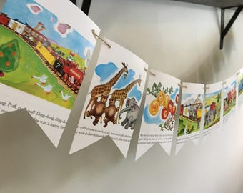 The Little Engine That Could  book page banner garland bunting decoration