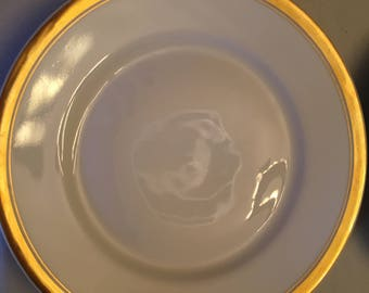 """Theodore Haviland Limoges - Classic White with Gold Band - 6"""" dessert plates"""