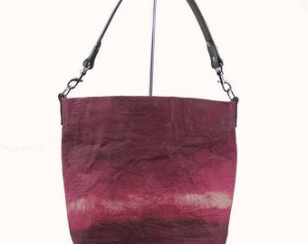 Waxed Canvas Bucket Bag - Burgundy - Leather Strap