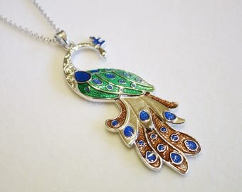 Peacock pendant; Peacock pendant in sterling silver; Peacock Necklace in Sterling silver