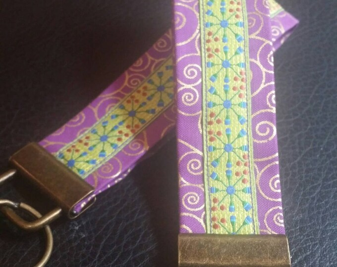 Key Chains-Key Rings-Key Fobs-Purple n' Lime Green Ribbon