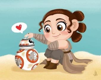 Rey and BB-8 Print