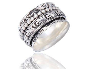 "The ""DANCER"" Sterling Silver Meditation Spinner Ring (Style# US61)"