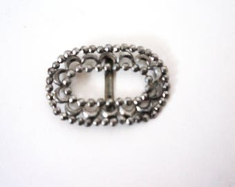 1920's Shoe Clip, Oval Shoe Clip, French Victorian Cut Steel