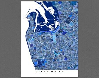 Adelaide Map Print, Adelaide Australia, Blue City Street Art Map Poster