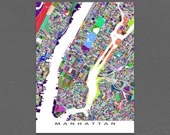 Manhattan New York, Manhattan Map Print, New York City Street Map, NYC