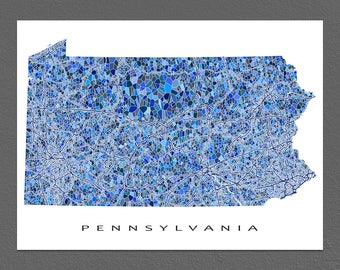 Pennsylvania Map Art, Pennsylvania Print, PA State Maps