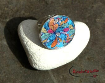 Adjustable ring, round, cabochon, colorful flowers, your main course: turquoise