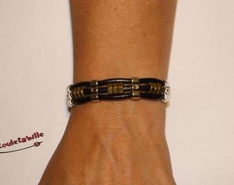 Mens bracelet, black leather, silver, 9 brass nuts