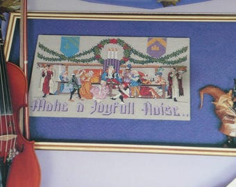 Vintage 1988 Puckerbrush Make A Joyful Noise Cross Stitch Pattern Leaflet