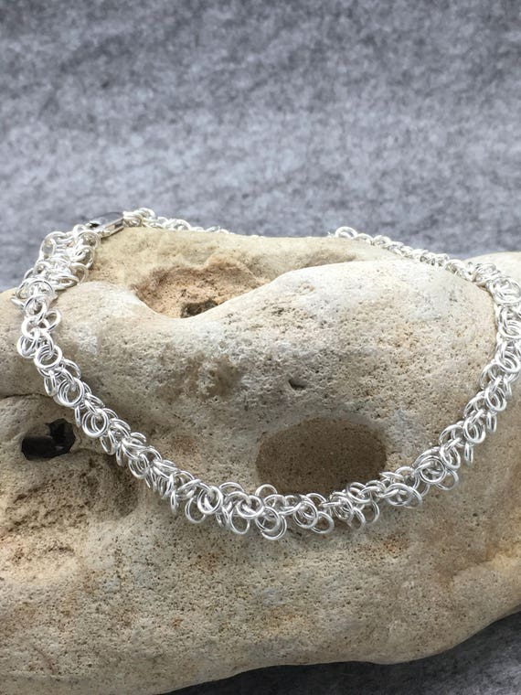 Handcrafted Sterling Silver Shaggy Hoop Anklet.