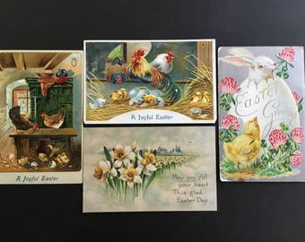 Vintage Easter themed postcards, Bunny, hens & Rooster, daffodils, posted, lot of 4
