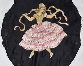 Antique Hand Painted And Silk Embroidered Dancing Woman Picture From the 20s