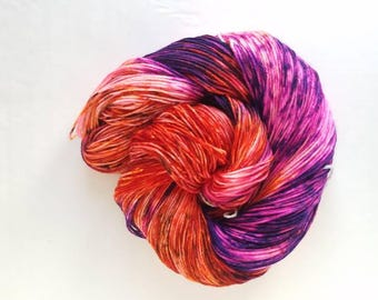Which Witch ,  blacklight/ UV reactive, hand painted indie yarn