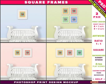 Nursery Interior Photoshop Print Mockup S-N1 | Square Set of 2 3 4 White Frames | White crib | Smart object Custom colors