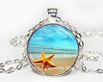 Starfish on the Beach-Glass Pendant Necklace/Graduation gift/mothers day/bridal gift/Gift for her/girlfriend gift/friend gift/birthday gift