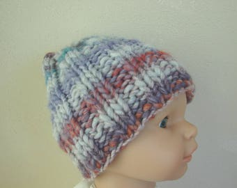 Hand knit hat gray purple orange kids hat size 1 - 1.5 yrs warm comfortable winter hat knit no seams chunky multicolor baby hat toddler hat