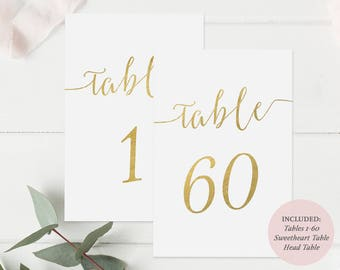 Gold Table Number Printable set of 1-60 -  Instant Download PDF - Gold Faux Foil - Wedding Table Cards Gold - 4x6 inches - #GD0814