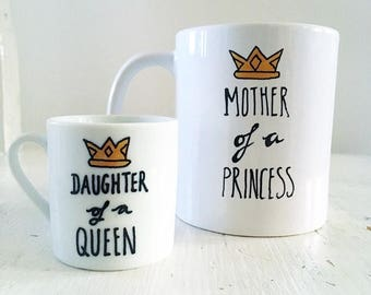Mother & Daughter hand painted mugs